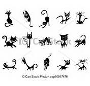 Vector  Cartoon Black Cat Silhouettes Stock Illustration Royalty