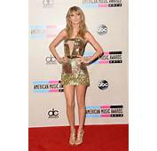 Taylor Swift Leggy Cleavy Wearing A Golden Mini Dress At The 2013