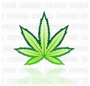 Vector Illustration Of Green Glossy Cannabis Marijuana Leaf Icon