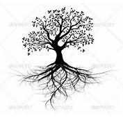 Tree Silhouette With Roots Tattoo Vector