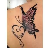 Mariposa Corazón Y Nombre De Hijo  Tatuajes Para Mujeres