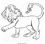 Clipart Of A Black And White Lion By Geo Images  806