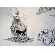 Sugar Skull Girl Burning Candle Tattoo Drawing Photo  4 Real