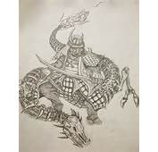 Chinese Dragon Mask Tattoo Samurai Design