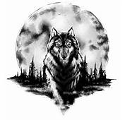 Beautiful Moon And Wolf Tattoo
