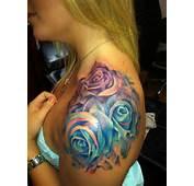 Watercolor Roses Tattoo On Shoulder For Girls  Tattooimagesbiz
