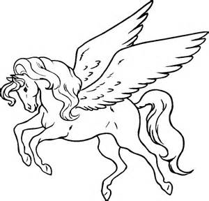 horse with wings colouring pages