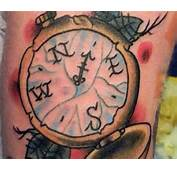 Amazing Old School Compass Tattoo On Side