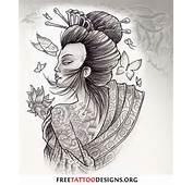 Geisha Tattoo With Butterflies