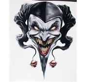 Black Ink Smiling Jester Tattoo Design