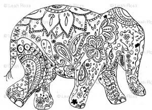 mehndi elephant colouring pages