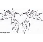 Uncolored Heart With Wings Tattoo Design