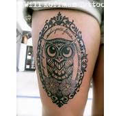 Owl Tattoo Victorian Filigree Frame Flowers Black And Grey Purple 2