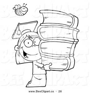 Coloring Page Bee over an Outlined Graduate School Girl Carrying a