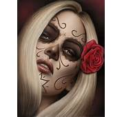 By Spider Art Print Sugar Skull Death Mask Tattoo Mexican Girl Woman