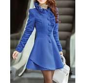 Blue Wool Women Coat Dress Apring Autumn Winter  CO056