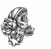 Latest Rose Flowers And Sugar Skull Tattoo Design