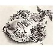 Music Guitar Tattoo Skeleton Black Tribal