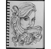 Woman And Filigree Tattoo Design By Frosttattoo