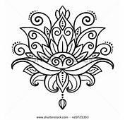 Vector Abstract Oriental Style Flower Lotus Tattoo Design
