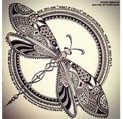 DRAGONFLY  Zentangle Doodle Drawing Moleskine Illustration