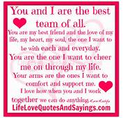 You And I Are The Best Team  Love Quotes Sayings