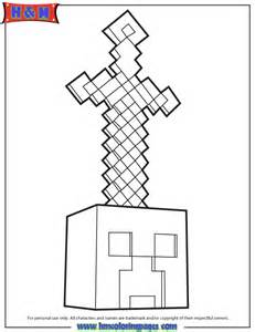 Minecraft Sword On Head Coloring Page | H & M Coloring Pages