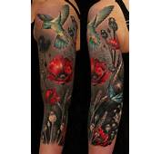 » Arm Tattoos Humming Bird And Red Poppy Flowers On