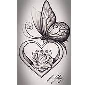 Heart Shape Butterfly Tattoo Design Pictures