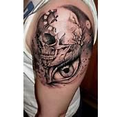 Clock Skull Arm Tattoo Design  Tattooshuntcom