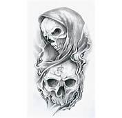 Grey Ink Skull Jester Tattoos Design