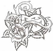 Gothic Rose Tattoo Designs On Heart With Thorns Coloring Pages
