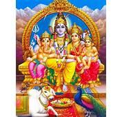 Shiva With His Wife Parvathi And Sons Ganesha &amp Karthikeya