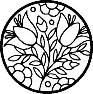 Flowers in a Circle Coloring Pages Sheets