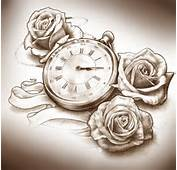 17 Timepiece And Roses Tattoo Design