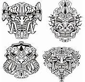 Coloriage Aztèque De Masques Monstres
