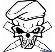 How To Draw An Army Skull Tattoo Step By Skulls Pop
