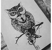 Design Animal Tattoo Key Owl Hole Drawing
