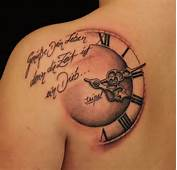 Awesome Color Banner And Clock Tattoo