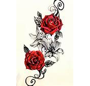 Couple Of Red Roses And Lily Flower Tattoo Designs