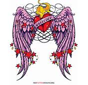 Heart And Angel Wing Tattoos With Roses