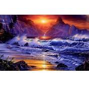 Sunsets Ocean Wallpaper 1920x1200 Waves Fantasy Art