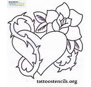 Outline Heart And Rose Flower Tattoo Design