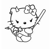 Naughty Hello Kitty  Evil Coloring Page Perfect For