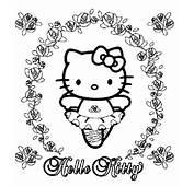 Hello Kitty Entoure De Petites Fleurs
