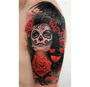 Tattoo Of Rose Flowers And A Girl With Sugar Skull Face Paint By Alex