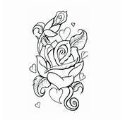 Rose With Small Hearts Tattoos Design
