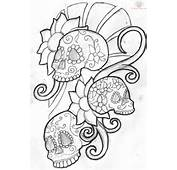 Tagged With Sugar Skull Line Drawing Outline
