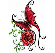 Red Butterfly With Rose Tattoo Design  Tattoobitecom