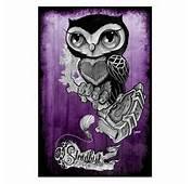 Purple Owl By Gunnar Gaylord Tattoo Art Print Poster New School Stead